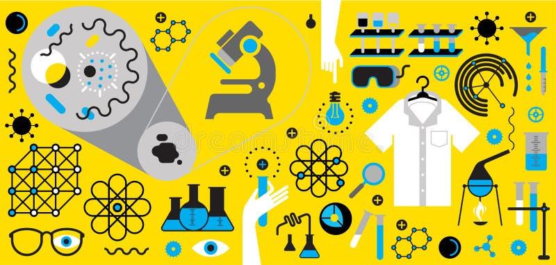 Composición con símbolos de la ciencia ilustración del vector