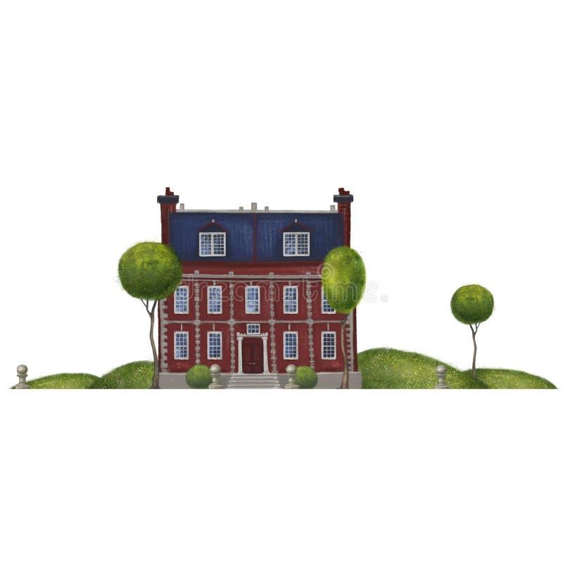 Composición con un edificio de ladrillo viejo Mansión o escuela inglesa en el paisaje Aislado en el fondo blanco ilustración del vector
