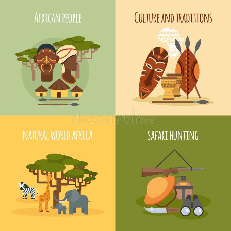 Composición cuadrada de los iconos planos del africano 4 libre illustration