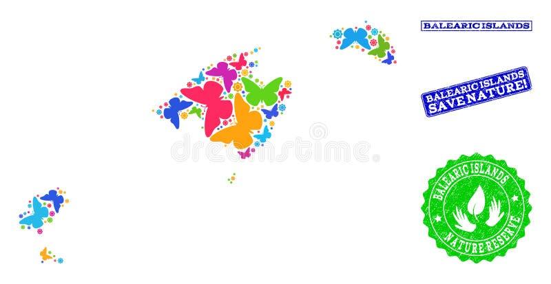 Composición de ahorro de la naturaleza del mapa de Balearic Island con las mariposas y las filigranas de la desolación stock de ilustración