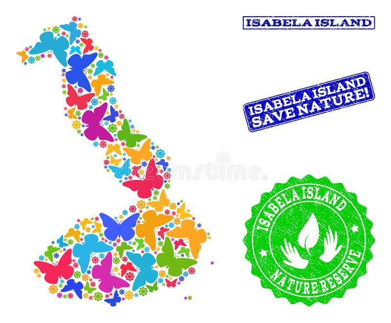 Composición de ahorro de la naturaleza del mapa de las Islas Galápagos - Isabela Island con las mariposas y los sellos de la deso libre illustration
