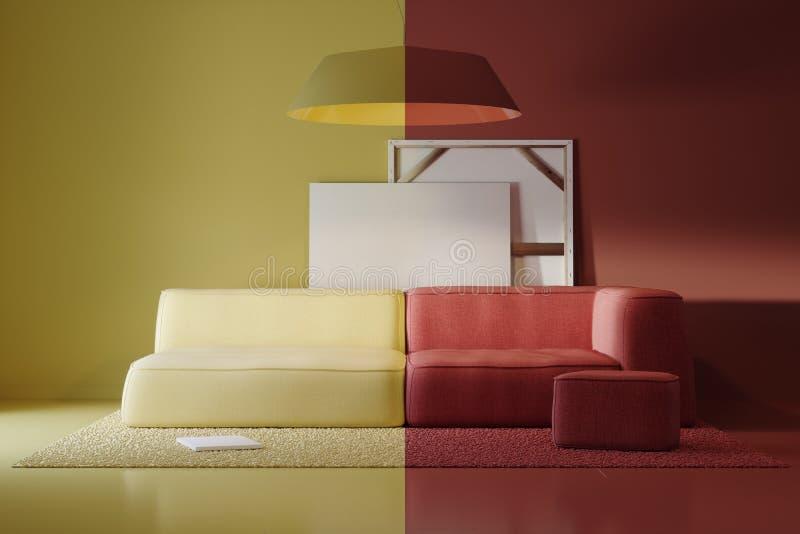 Composición de artículos interiores coloreados en el estudio ilustración del vector