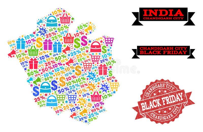Composición de Black Friday del mapa de mosaico de la ciudad de Chandigarh y del sello del Grunge stock de ilustración