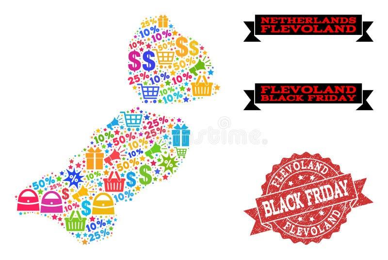 Composición de Black Friday del mapa de mosaico de la provincia de Flevolanda y del sello texturizado stock de ilustración