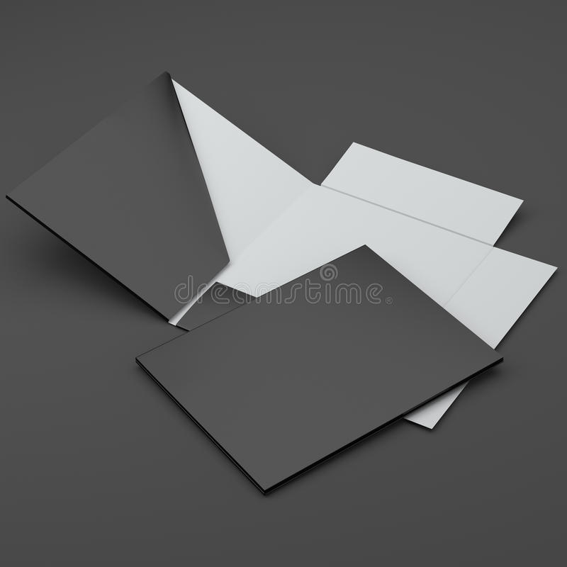 Composición de carpetas negras imagen de archivo