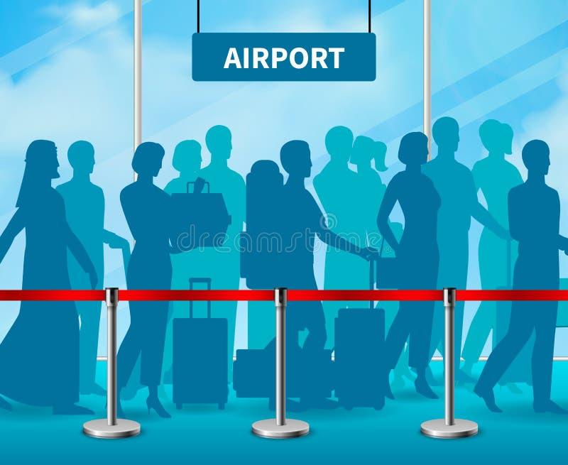 Composición de cercado temporal del aeropuerto de la gente de la barrera ilustración del vector