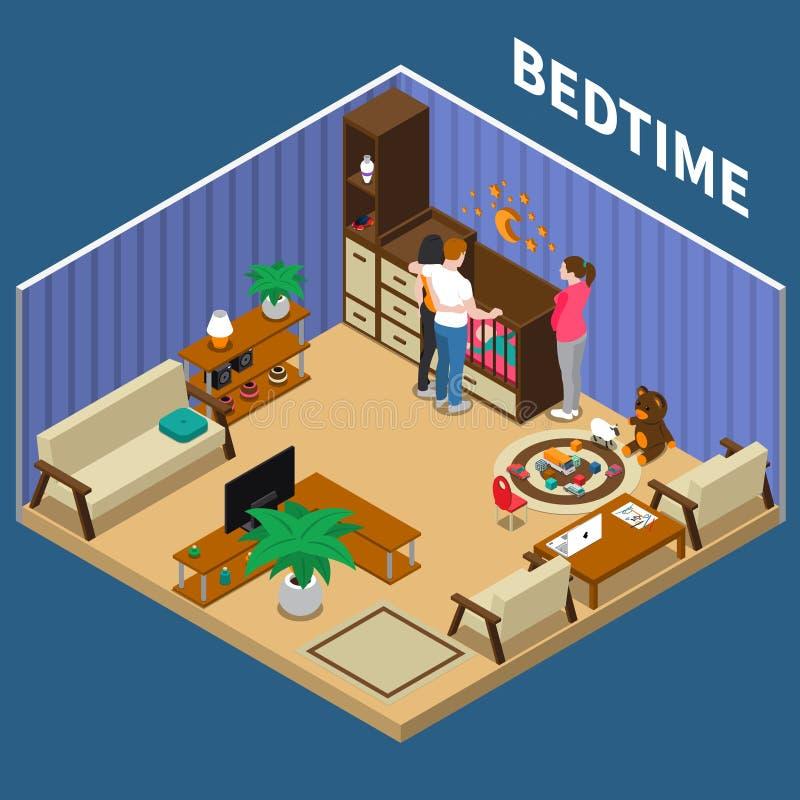 Composición de Child Bedtime Isometric de la niñera libre illustration