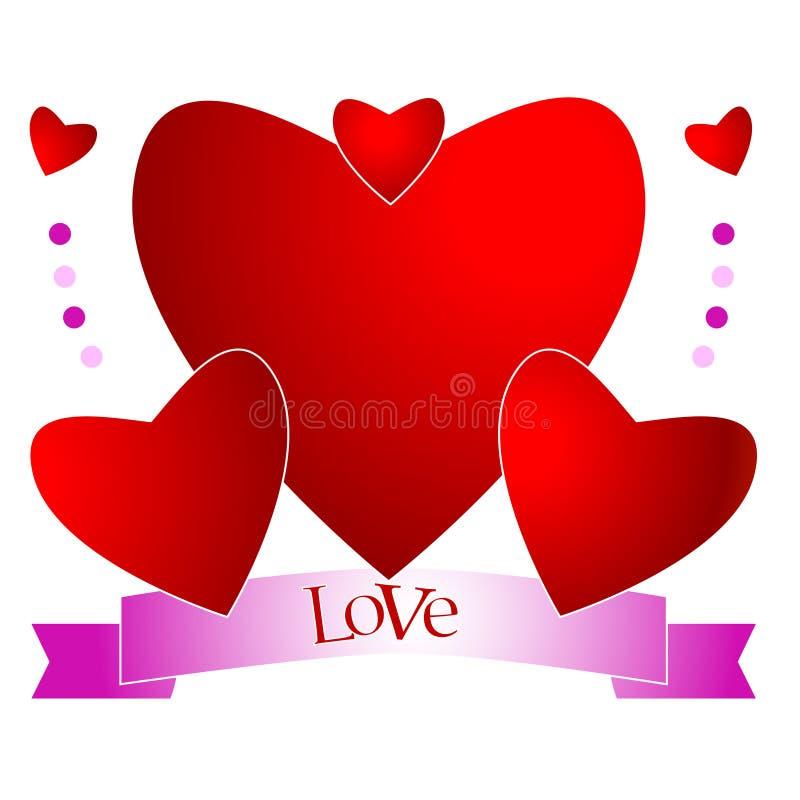 Composición de corazones con la escritura fotos de archivo