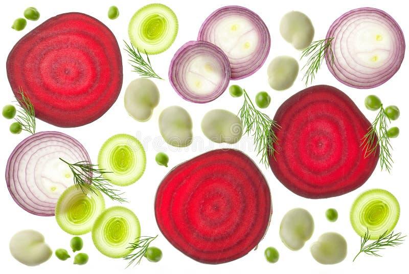 Composición de diversas verduras cortadas imágenes de archivo libres de regalías