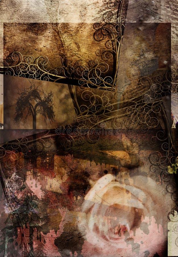 Composición de Grunge Rose ilustración del vector