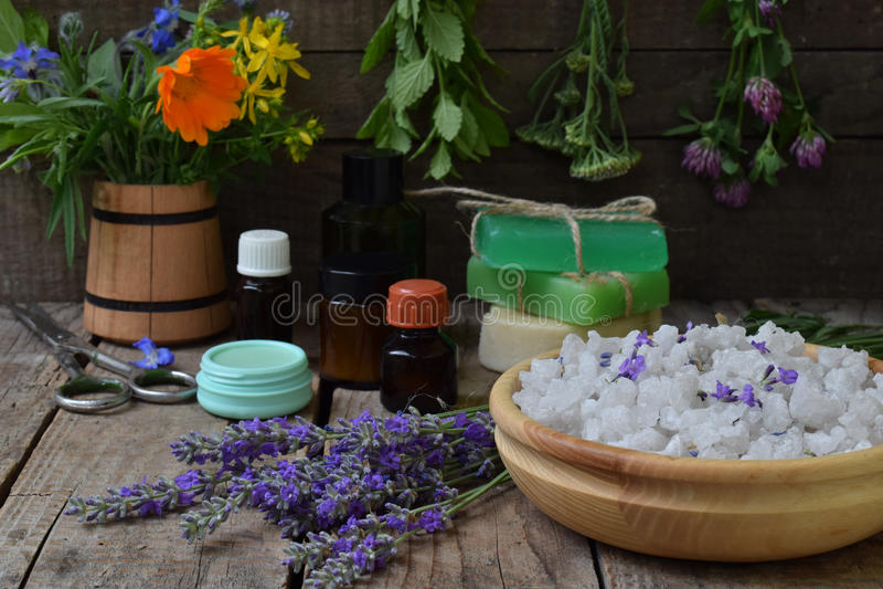 Composición de hierbas y de la flor frescas: sabio, menta, lavanda, calendula, trébol, milenrama Medicina alternativa o cosmetolo fotografía de archivo libre de regalías