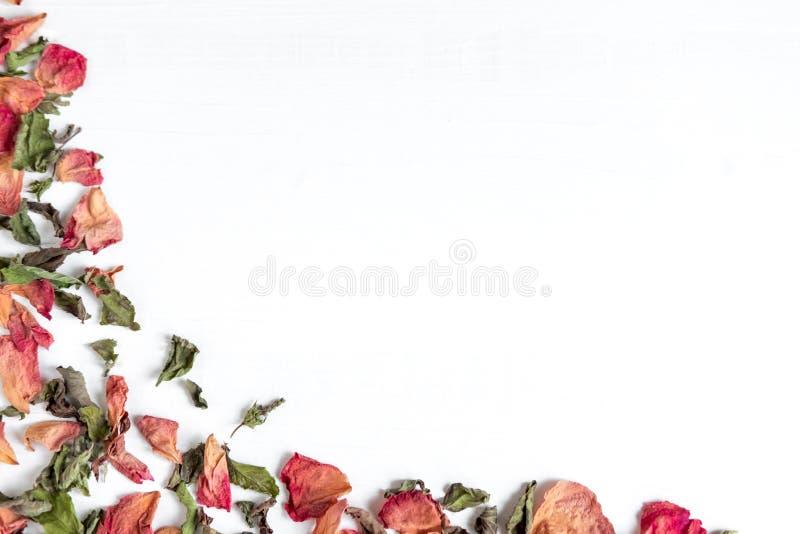 Composición de hojas y de pétalos de rosa secados Concepto con los pétalos color de rosa secados Foto arriba Endecha plana, visió foto de archivo