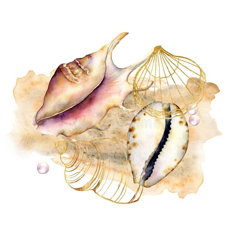 Composición de la acuarela con las cáscaras y las perlas Elementos subacuáticos pintados a mano aislados en el fondo blanco acu?t stock de ilustración