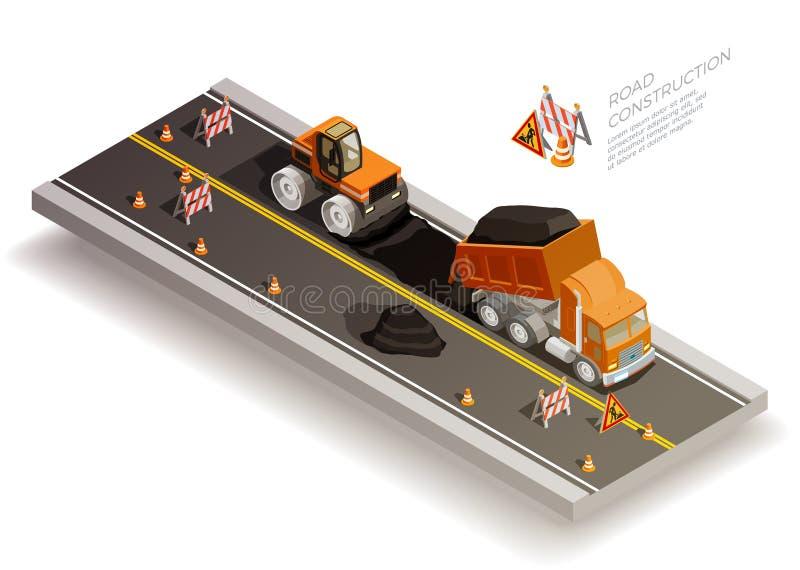 Composición de la construcción de las obras viales libre illustration