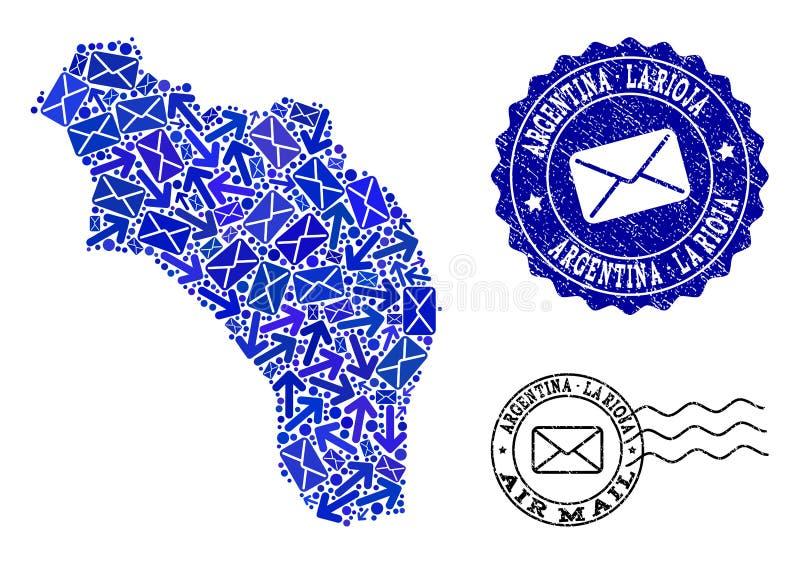 Composici?n de la entrega del poste del mapa de mosaico de los sellos de la Argentina - de La Rioja y del Grunge libre illustration
