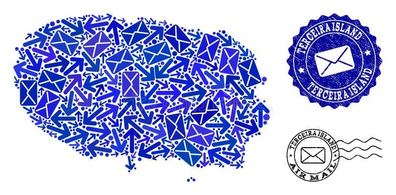 Composición de la entrega del poste del mapa de mosaico de los sellos de la isla y de la desolación de Terceira stock de ilustración