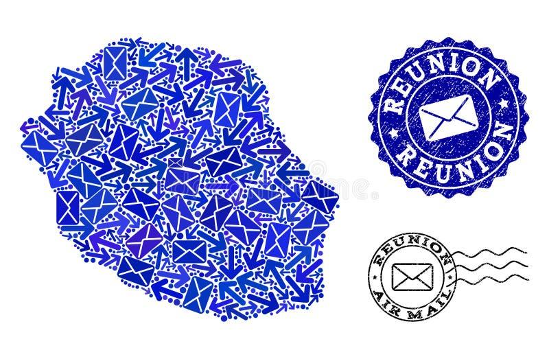 Composici?n de la entrega del poste del mapa de mosaico de Reunion Island y de sellos rasgu?ados stock de ilustración