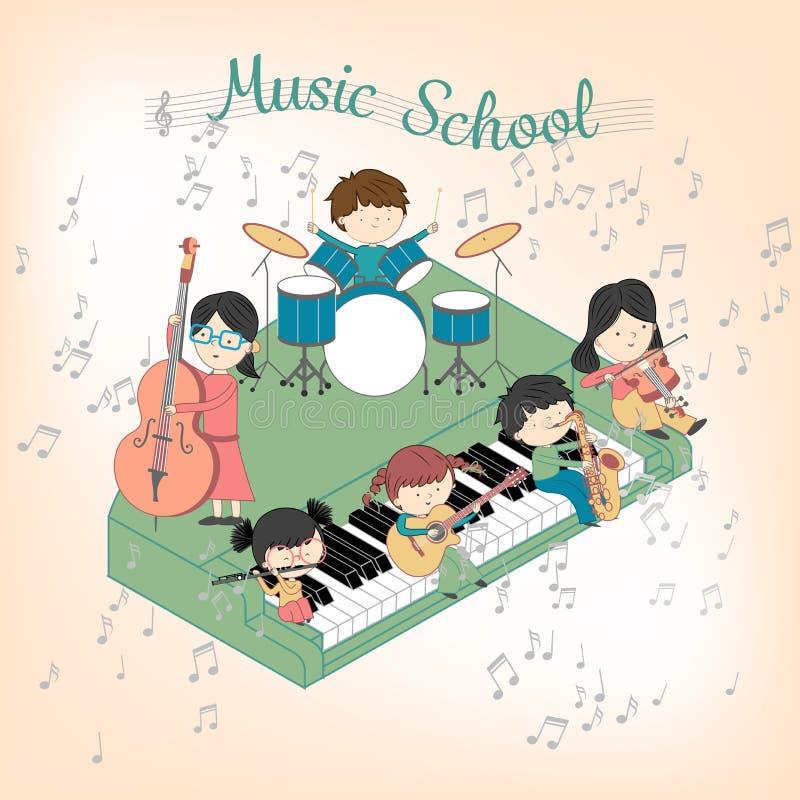 Composición de la escuela de música de los niños con los muchachos y las muchachas que tocan muchos instrumentos ilustración del vector