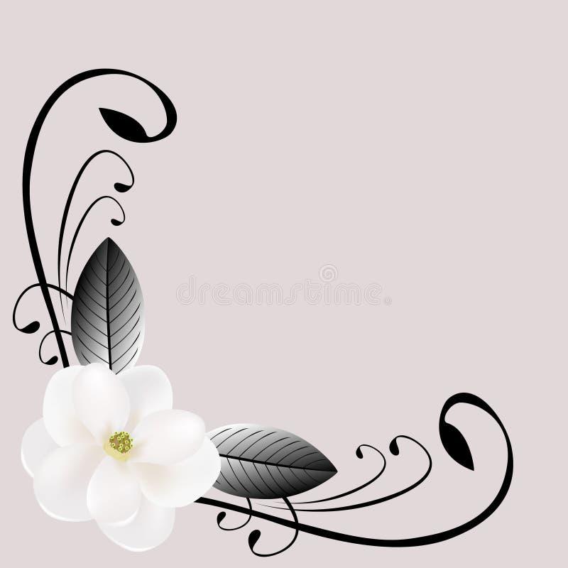 Composición de la esquina con la magnolia y las hojas blancas libre illustration