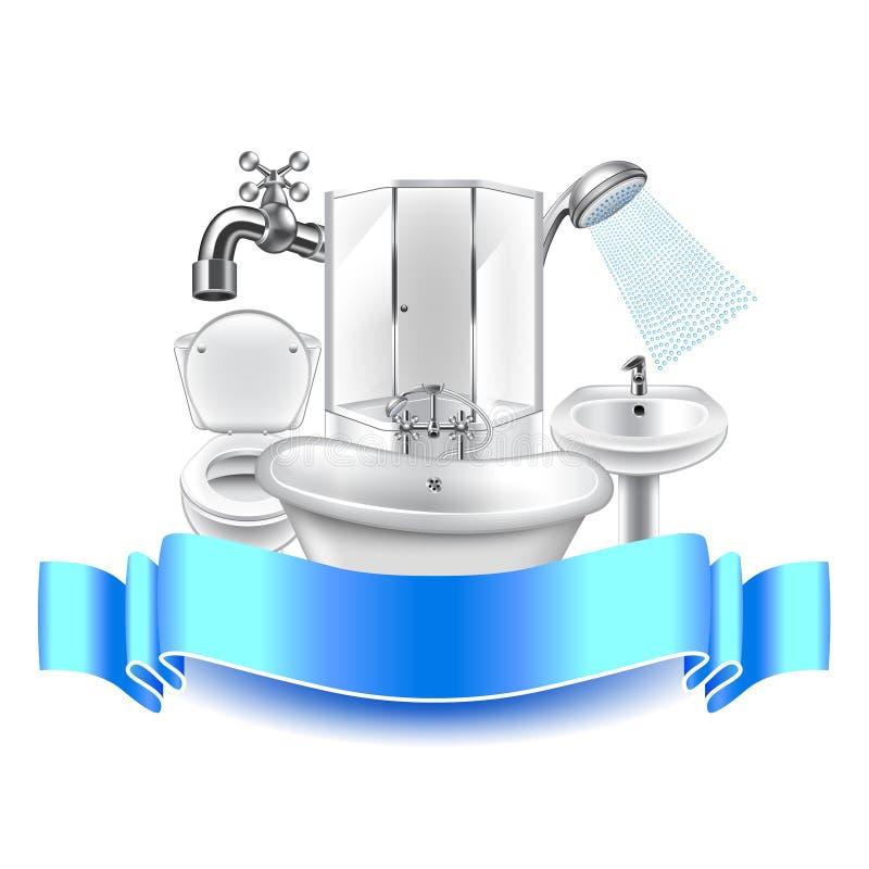 Composición de la fontanería en el fondo blanco stock de ilustración