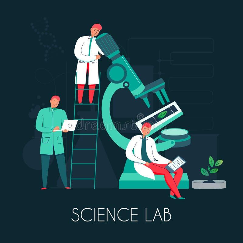 Composición de la gente del laboratorio de ciencia ilustración del vector