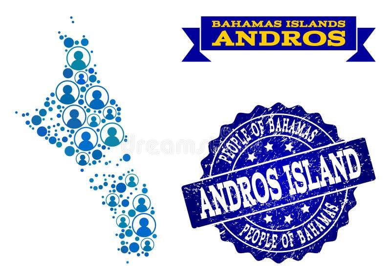 Composición de la gente del mapa de mosaico de Bahamas - de la isla de Andros y del sello del Grunge libre illustration