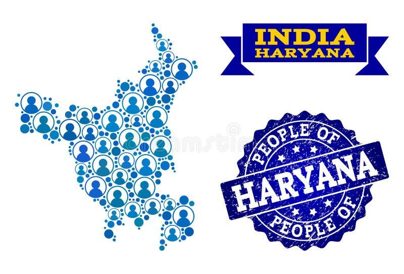 Composición de la gente del mapa de mosaico del estado de Haryana y del sello rasguñado stock de ilustración