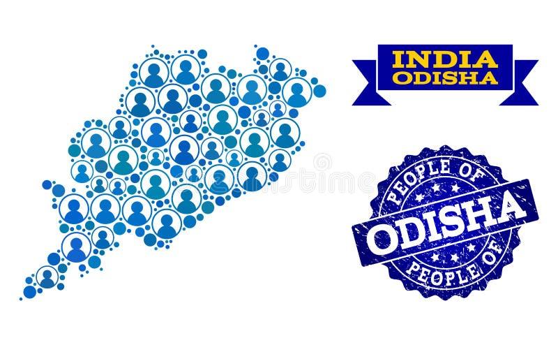 Composición de la gente del mapa de mosaico del estado de Odisha y del sello del Grunge stock de ilustración