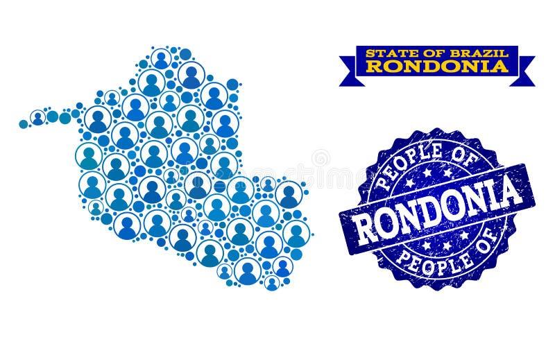 Composición de la gente del mapa de mosaico del estado de Rondonia y del sello rasguñado stock de ilustración