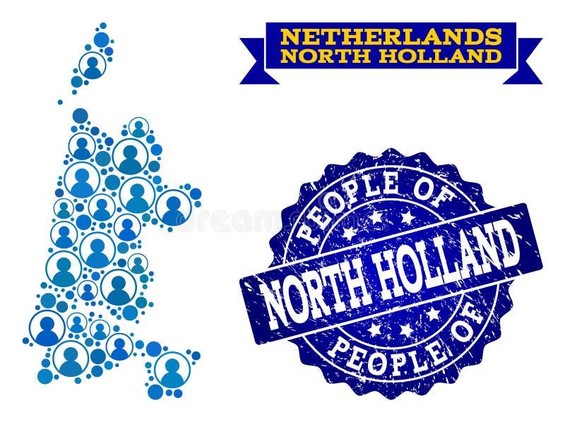 Composición de la gente del mapa de mosaico de Holanda Septentrional y del sello texturizado del sello stock de ilustración