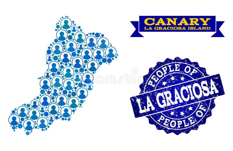 Composición de la gente del mapa de mosaico de la isla de Graciosa del La y del sello rasguñado libre illustration