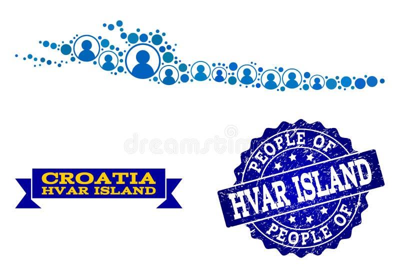Composición de la gente del mapa de mosaico de la isla de Hvar y del sello texturizado stock de ilustración