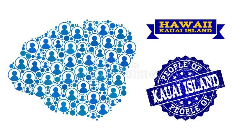Composición de la gente del mapa de mosaico de la isla de Kauai y del sello del Grunge libre illustration