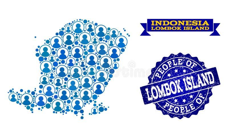 Composición de la gente del mapa de mosaico de la isla de Lombok y del sello rasguñado del sello ilustración del vector