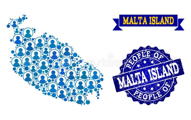 Composición de la gente del mapa de mosaico de la isla de Malta y del sello texturizado del sello stock de ilustración