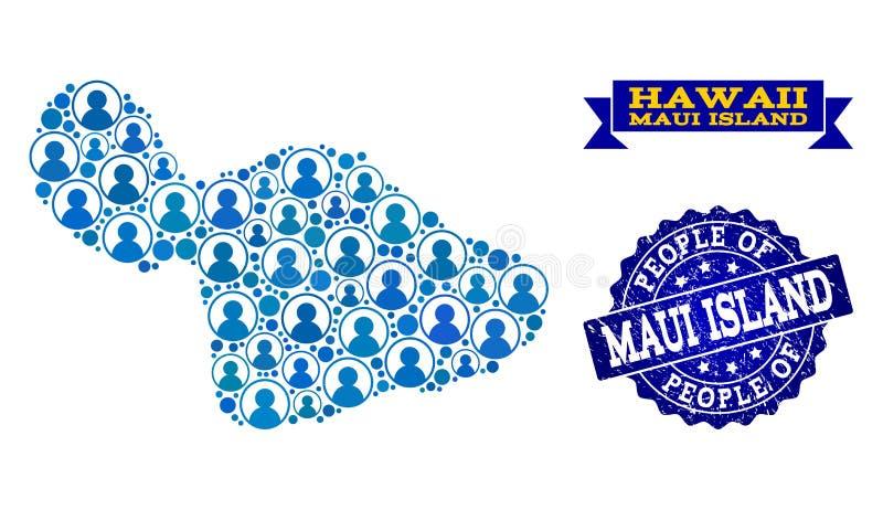Composición de la gente del mapa de mosaico de la isla de Maui y del sello de la desolación stock de ilustración