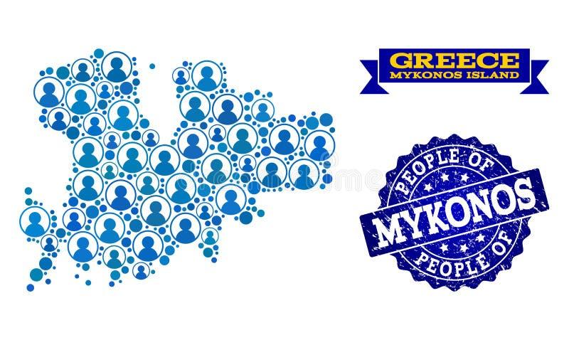 Composición de la gente del mapa de mosaico de la isla de Mykonos y del sello del sello del Grunge stock de ilustración