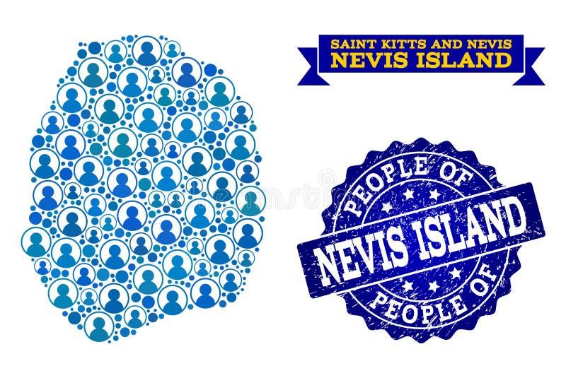 Composición de la gente del mapa de mosaico de la isla de Nevis y del sello texturizado libre illustration