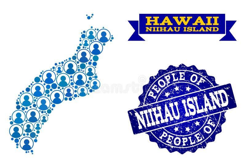 Composición de la gente del mapa de mosaico de la isla de Niihau y del sello rasguñado stock de ilustración