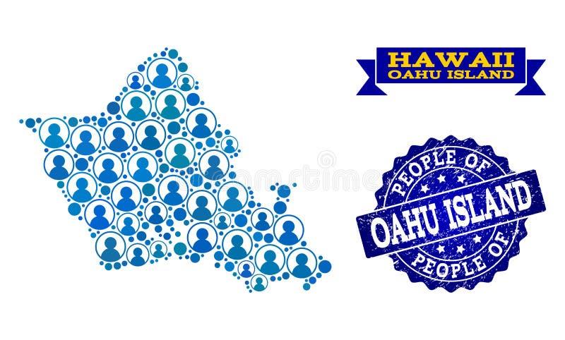 Composición de la gente del mapa de mosaico de la isla de Oahu y del sello rasguñado del sello libre illustration
