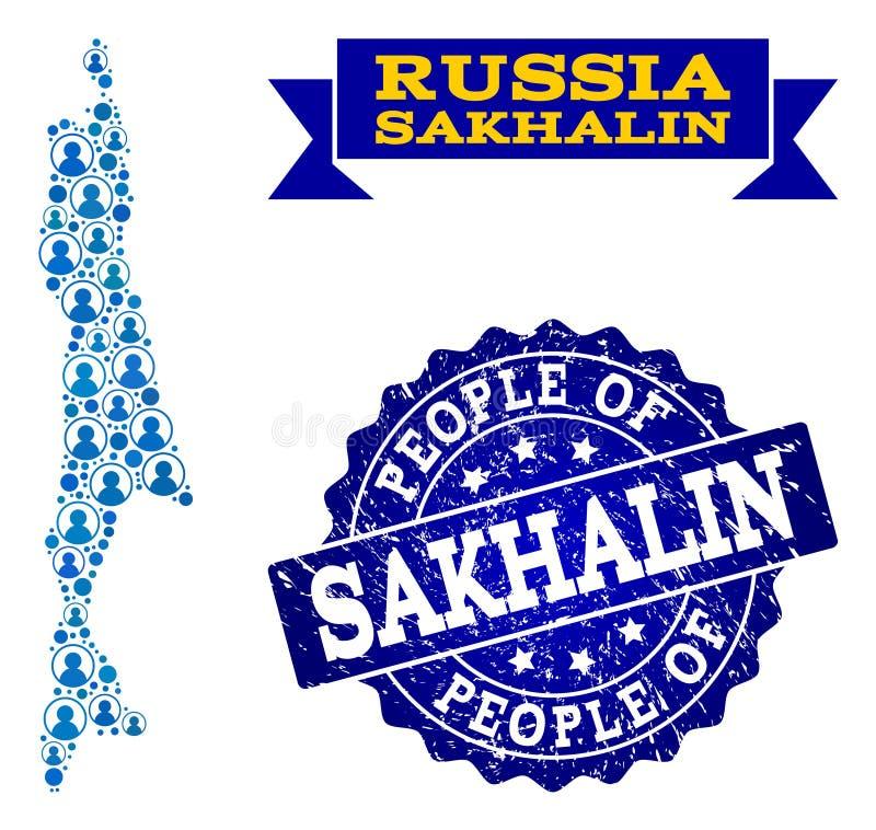 Composición de la gente del mapa de mosaico de la isla de Sajalín y del sello del Grunge ilustración del vector