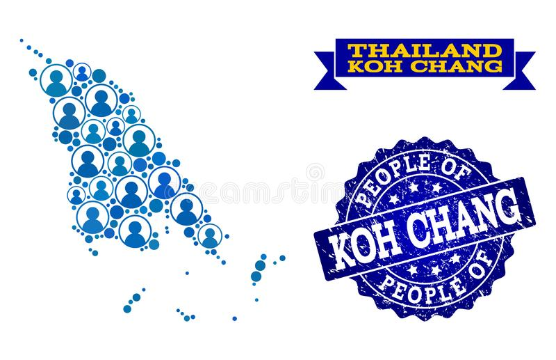 Composición de la gente del mapa de mosaico de Koh Chang y del sello rasguñado libre illustration