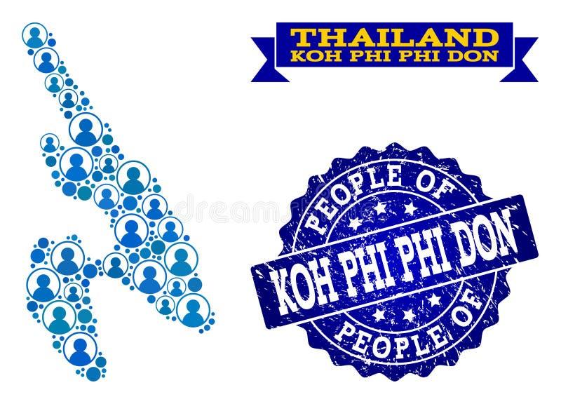 Composición de la gente del mapa de mosaico de Koh Phi Don y del sello rasguñado stock de ilustración