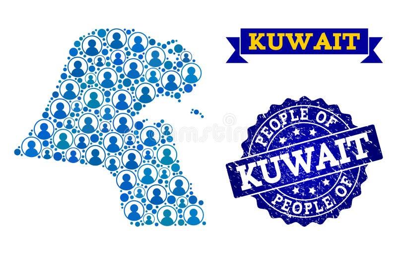 Composición de la gente del mapa de mosaico de Kuwait y del sello del sello de la desolación libre illustration