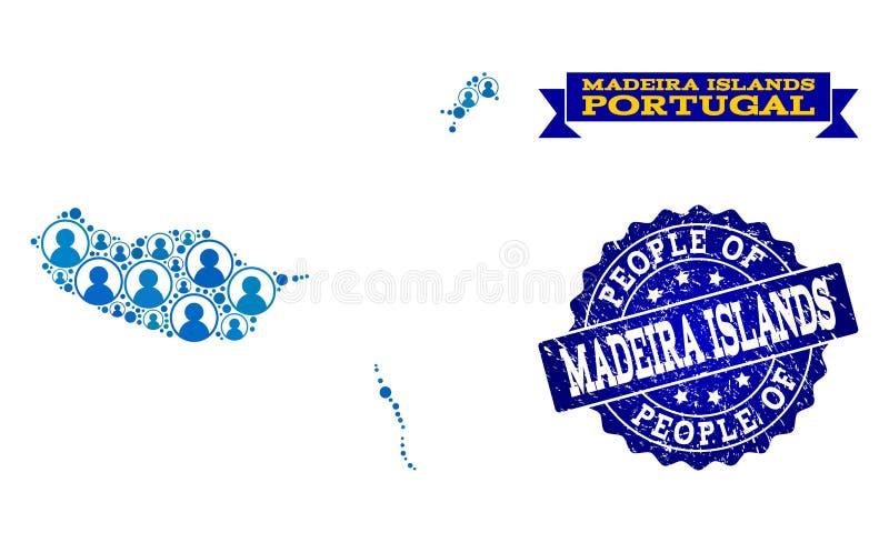 Composición de la gente del mapa de mosaico de las islas de Madeira y del sello del Grunge stock de ilustración