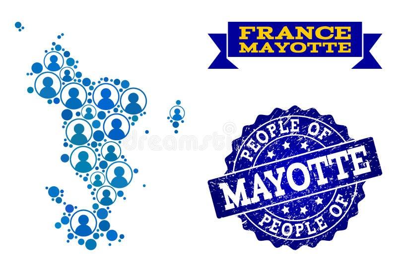 Composición de la gente del mapa de mosaico de las islas de Mayotte y apenar el sello stock de ilustración