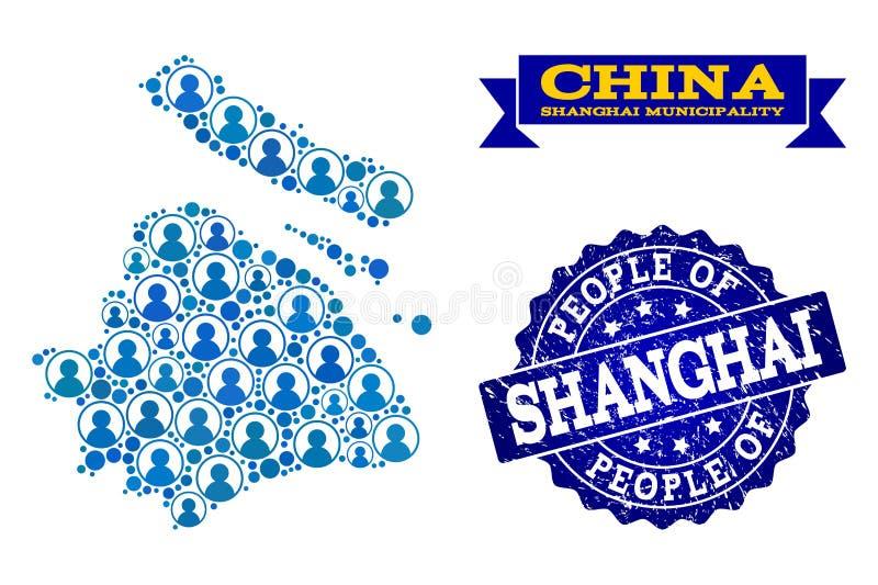 Composición de la gente del mapa de mosaico del municipio de Shangai y del sello texturizado libre illustration