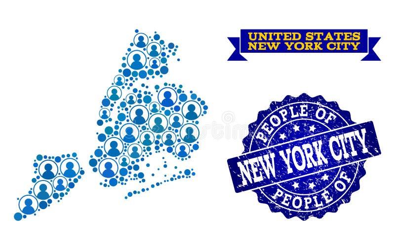 Composición de la gente del mapa de mosaico de New York City y del sello texturizado libre illustration