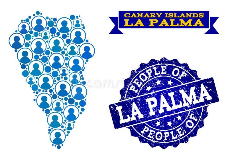 Composición de la gente del mapa de mosaico del La Palma Island y del sello del sello de la desolación libre illustration