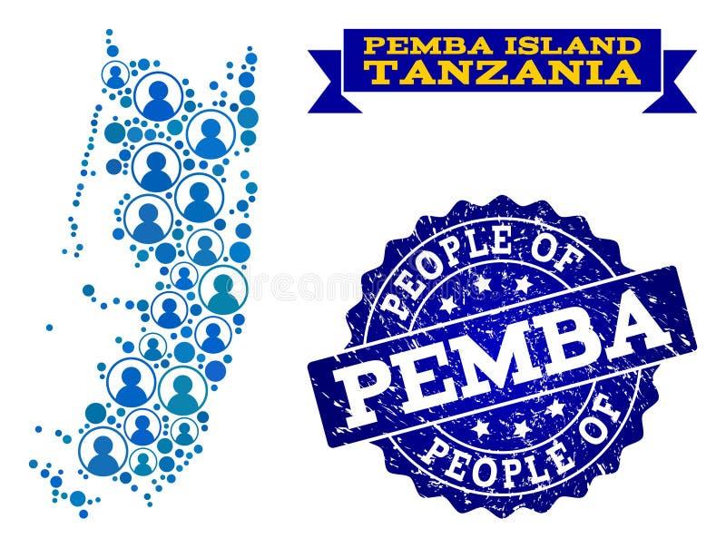 Composición de la gente del mapa de mosaico de Pemba Island y del sello del Grunge ilustración del vector